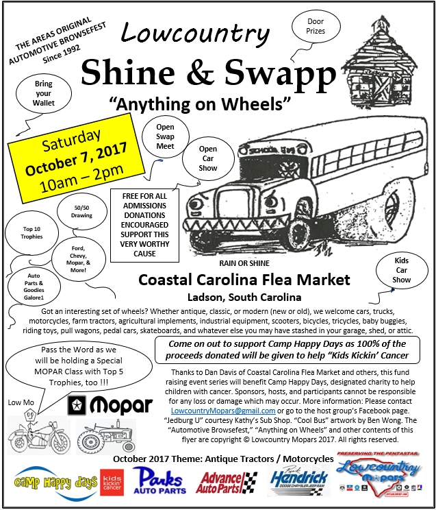 Click for TEXT-only version of Lowcountry Shine & Swapp info